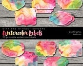 Watercolor Labels With And Without Borders, Printable, 20 png Labels, 1 PDF, INSTANT DOWNLOAD