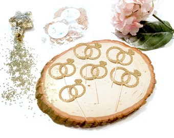 17 Wedding Rings Cupcake Toppers for Wedding or Engagement Party