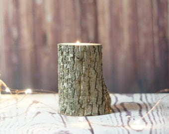 Rustic Wood Candle Holder, Boyfriend gift, 5th Anniversary, Rustic Home Decor, Log Candle, Modern Farmhouse, Log Cabin, Lake, Rustic Candle