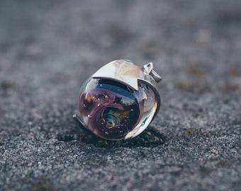 "Handmade pendant with lampwork ""Around The Galaxy"""
