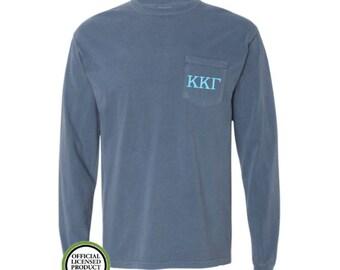 Kappa Kappa Gamma Comfort Colors LONG Sleeve Pocket Tee, Greek gift, Sorority gift, Big and Little, Kappa Kappa Gamma, Kappa, KKG