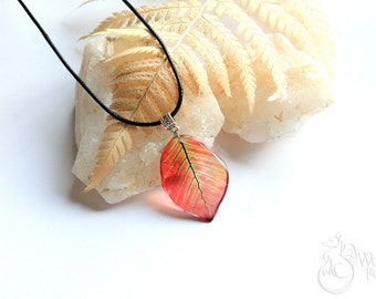 Resin Transparent Necklaces - Leaf Pendant - Nature Jewelry - Leaves - Tree Leaf Necklace