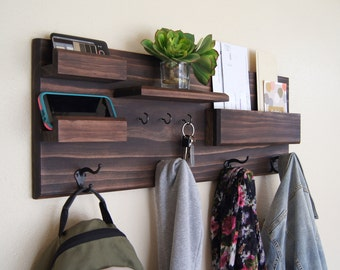 Midnight Woodworks Original Entryway Organizer Wall Mounted Solid Wood Storage Ledges Mail Pocket Key Rack Coat Hooks and Floating Shelves