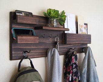 Entryway Organizer Wall Mounted Floating Shelf Mail Storage Key Rack and Coat Rack Sunglasses Storage Family Organization Back to School