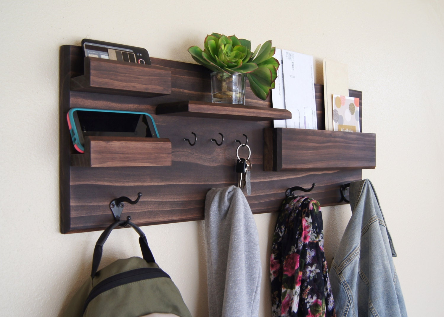 Entryway Organizer Wall Mounted Floating Shelf Mail Storage