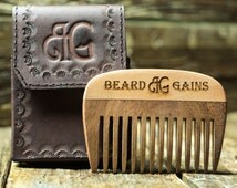 Classy Wooden Two Tone Pocket Beard Comb W/ Leather Case & NEXT DAY SHIPPING!!! *Optional Name Engraving*