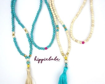 Long beaded necklace with tassel, boho