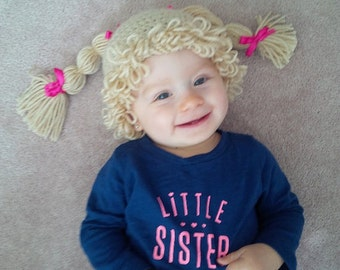CABBAGE PATCH hat - cabbage patch kid inspired hat - crochet cabbage patch kid hat - crochet cabbage patch