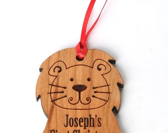 Lion Personalized Baby Christmas Ornament - Baby's First Christmas Ornament and Gift. Birth Stat's Ornament, Custom Lion ornament Solid Wood