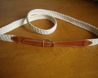 Belt Vintage, tawny leather and hemp/flax braided, with Golden buckle, belt women,