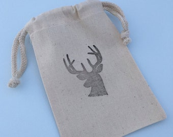 Stag Head Favor Bags: Muslin Favor Bags With Deer Antler Design, Hunters Party Supplies