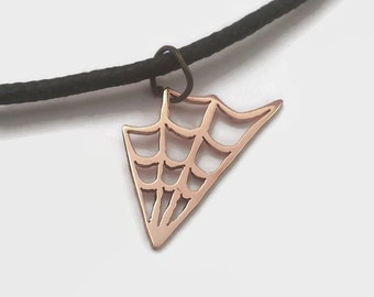 Spider Web Pendant Necklace on Black Cord Choker in Copper or Brass - Deliciously creepy goth jewelry, great for halloween
