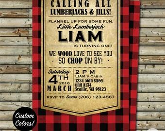 Custom Lumberjack Birthday Party Invitation   Red Black Flannel or CUSTOM COLORS   Printable Digital File   KFT Design