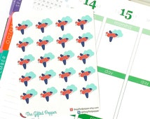 PRINTED Plane stickers. Airplane travel, trip, flight, vacation sticker. Erin Condren planner stickers, calendar stickers (Item #052)