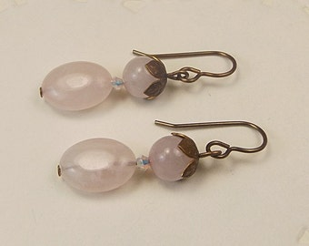 Rose Quartz Earrings, Antiqued Brass Jewelry, Rose Quartz and Brass, Rose Quartz Dangle