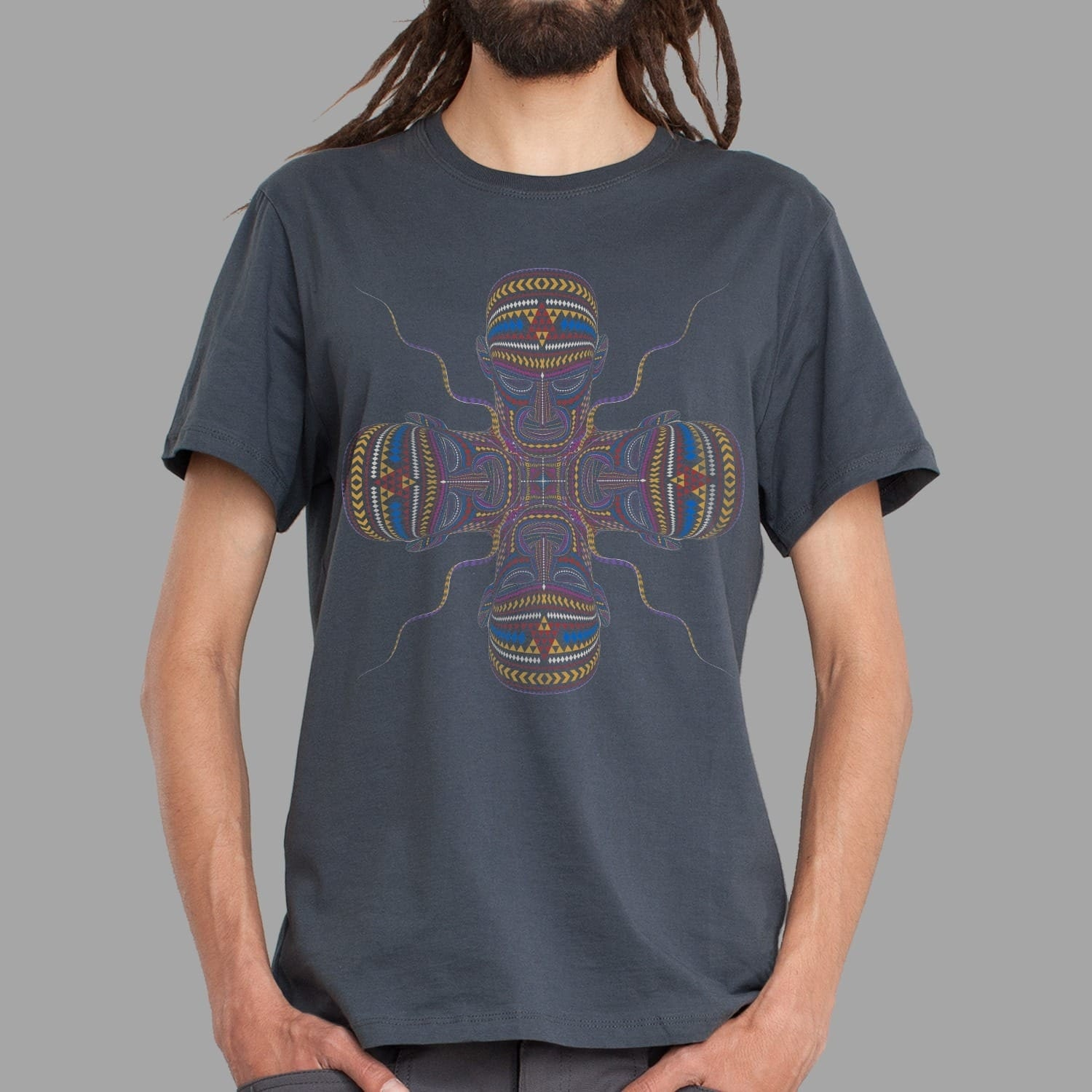 Psychedelic Tee for Men In Grey Ayahuasca Clothing by symbolika