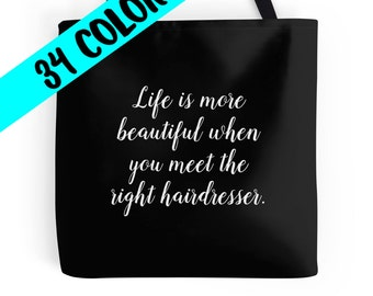 Hairdresser Tote, Hair Stylist Bag, Hairdresser Quote, Beauty Bag, Cosmetology Bag, Cosmetologist Tote, Beauty Purse, Hairdresser Gift