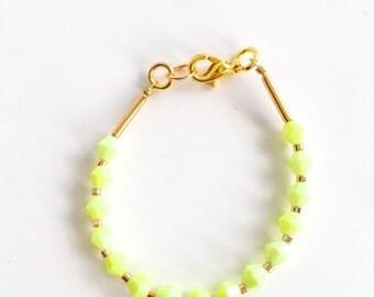 Stacking bracelet - Baby Bracelet - toddler bracelet - baby girl jewelry- lemon lime bracelet - summer bracelet - black and white bracelet -