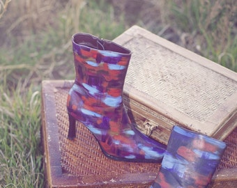 Hand painted booties/ fashion boots/ painted boots/ statement fashion boots