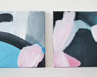 Spring Walk #3 Original abstract fine art acrylic painting on canvas blue pink white modern abstract painting