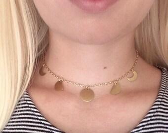 Gold Moon Phase Choker Necklace // Handmade Choker // Adjustable Choker // Gold Chain // Moon Phase // Trendy Choker // Bohemian // Hippie