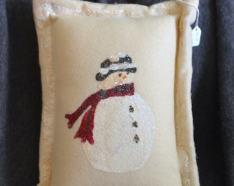 Small Hand Painted Glittered Snowman Pillow