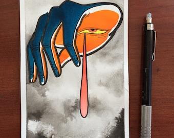 Hand drip painting