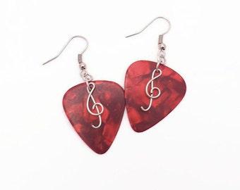 Guitar pick earrings Treble clef earrings Gift for music lover Music earrings Punk rock earrings Guitar pick jewelry  Rock n roll jewelry