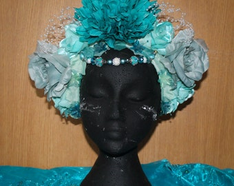 Teal, turquise  floral headdress, headpiece with beads and pearls, artificial flowers