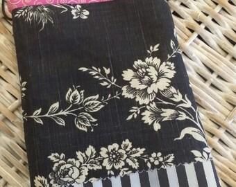 Sew Cute Bag-(Black n' Silver Stripe n' Raspberry Trim)