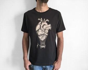 Men's shirt, tshirt for man, Anatomical Heart Shirt, boyfriend shirt, Steampunk clothing, hot air balloon tee, anatomy shirt, boyfriend gift