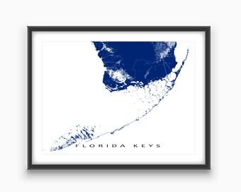 Florida Keys Map Print, Key West Map, Key Largo, Florida Keys Art Prints