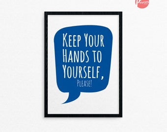 Playroom Manners Printable - Kids Wall Art Instant Download - Hands to Yourself