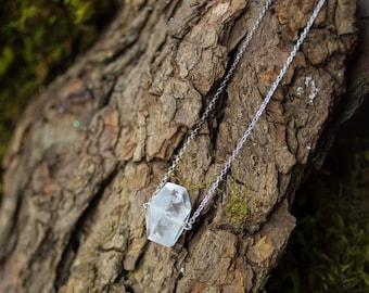 Clear quartz necklace, delicate everyday