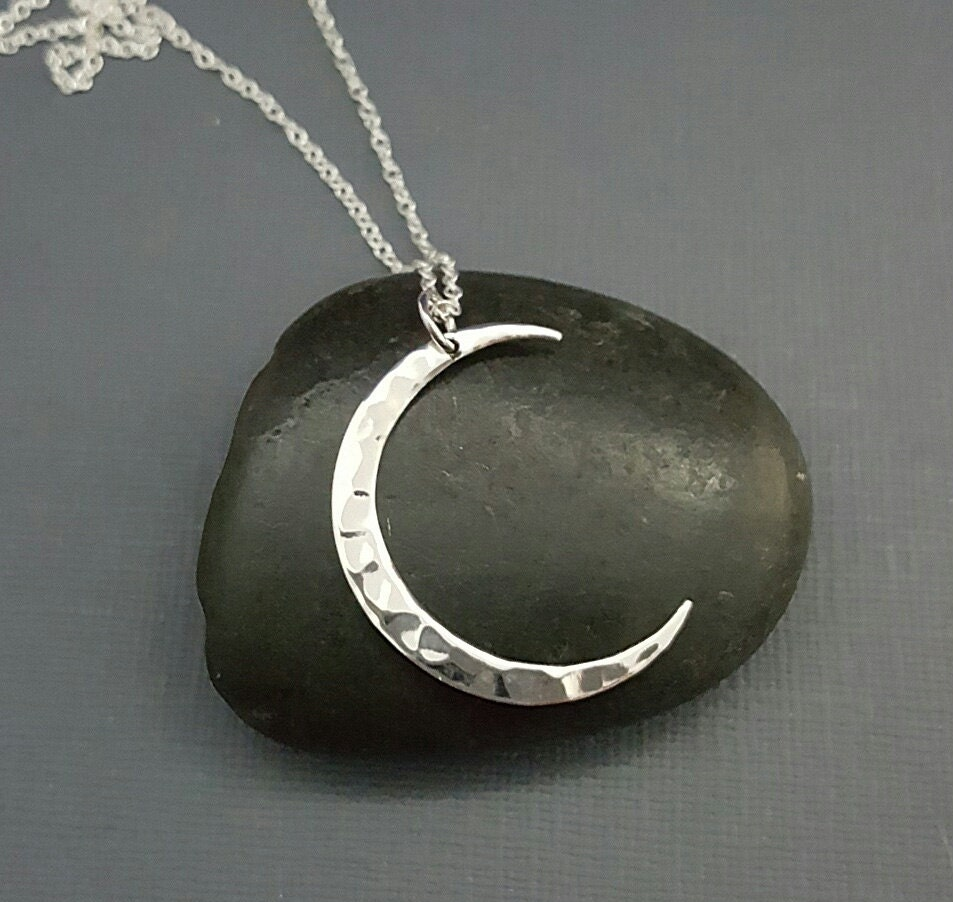 Crescent Moon necklace Silver Moon Hammered sterling