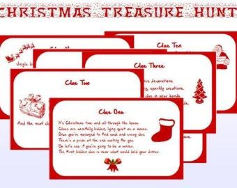 Indoor Christmas Treasure Hunt Clues Printable - Instant Download