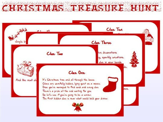 It's just a graphic of Eloquent Christmas Scavenger Hunt Printable Clues