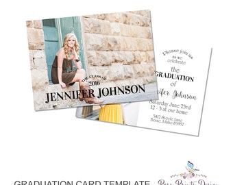 Graduation Announcement Template - 5x7 Digital Photography Photoshop Files - Template for Photographers - GC14 - DOWNLOAD or PRINTABLE