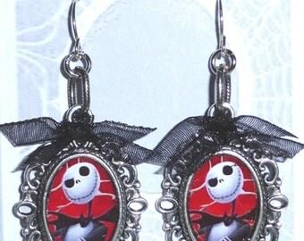 Jack Skellington Silver Hook Earrings ~ Nightmare Before Christmas ~ Tim Burton Skull Goth Costume Halloween Jewelry Jewellery