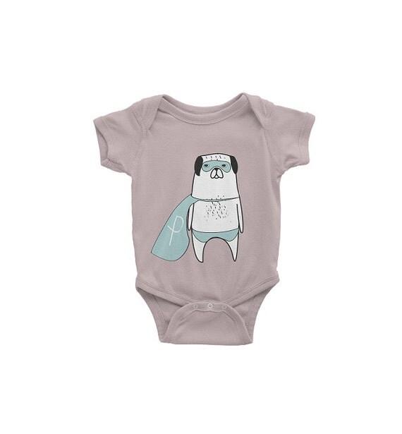 42e8a4d64 Baby Bodysuit Dog, Pug Baby Shirt, Organic Baby Clothes, New Baby Shirt,