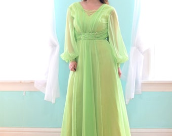 Vintage 1980s Mike Benet Formals Lime Green Formal Dress Full Length Maxi Sleeves Chiffon Renaissance Party XSmall XS Small S Size 2 4