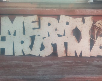 Metal Merry Christmas sign, Christmas metal art, Metal Christmas display