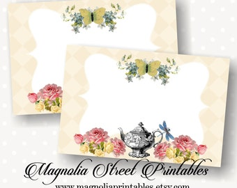 Tea Party Buffet Labels, Printable 4 x 6 Buffet Labels, Flat and Tented Buffet Labels, Bridal Tea Party, Kitchen Tea Party, High Tea Party