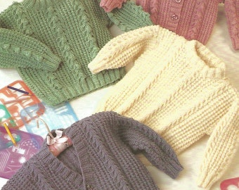 Knitting Pattern Babies/Children's Aran/Fisherman/12 Ply 4 Designs Cable Sweater & Cardigan V Neck and Round Neck size 20-26in 50-65cm