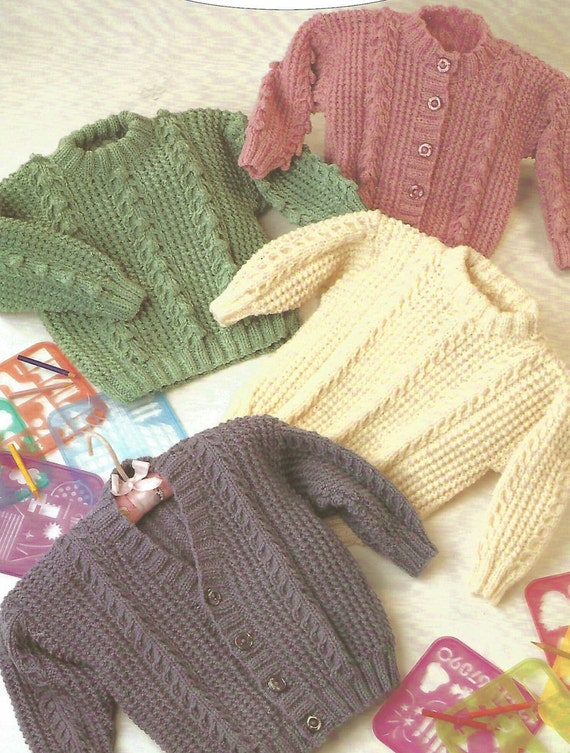 Knitting Patterns Childrens Jumpers : Knitting Pattern Babies/Childrens Aran/Fisherman/12 Ply 4