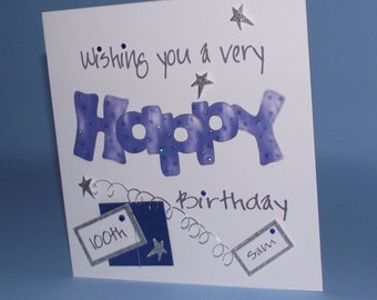 Personaliised Handmade Wishing You A Very Happy BirthdayPresent Card. 16th 21st 30th 40th 50th 60th 70th 80th 90th 100th etc
