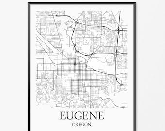 Eugene Map Art Print, Eugene Poster Map of Eugene Decor, Eugene City Map Art, Eugene Gift, Eugene Oregon Art Poster