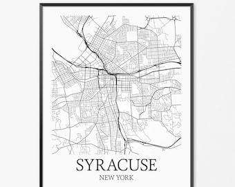 Syracuse Map Art Print, Syracuse Poster Map of Syracuse Decor, Syracuse City Map Art, Syracuse Gift, Syracuse New York Art Poster