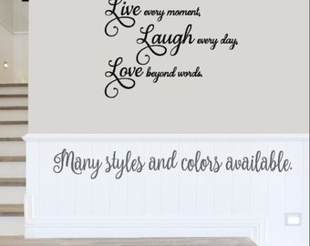 Live Laugh Love Vinyl Decal, Live Laugh Love Quote, Live Laugh Love Wall,
