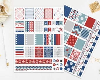 Nautical Printable Planner Stickers, 4th of July, Summer Sea Boats Anchor Planner Red Blue White Digital Planner Instant Download Print Cut